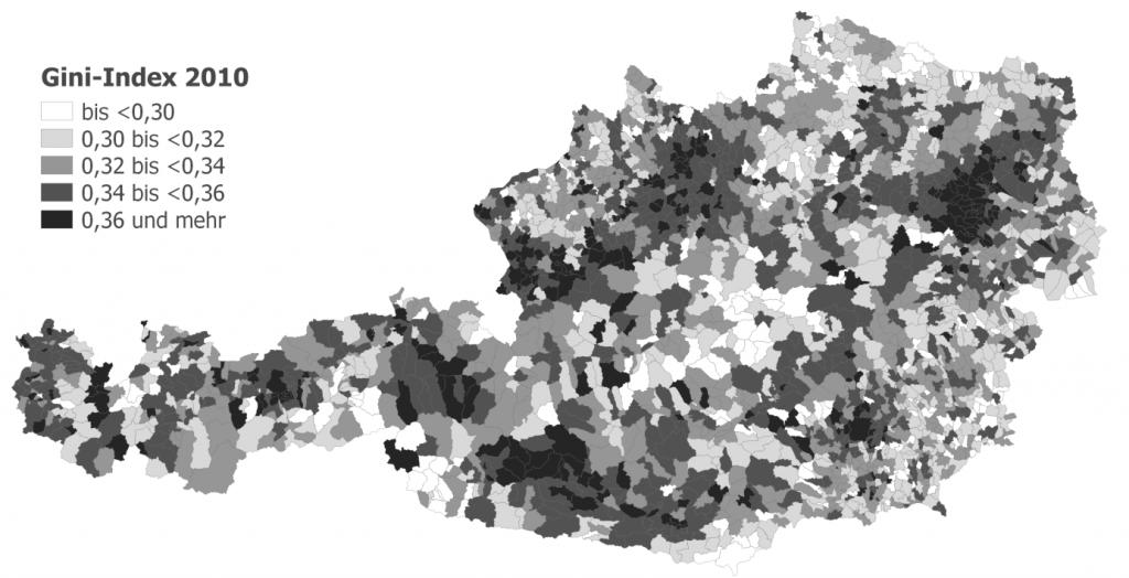 Quelle: Statistik Austria, Lohnsteuerstatistik (Berechnungen Moser & Schnetzer 2015); Karte erstellt in QGIS, Grundlage CC-BY-3.0 Land Kärnten - data.ktn.gv.at