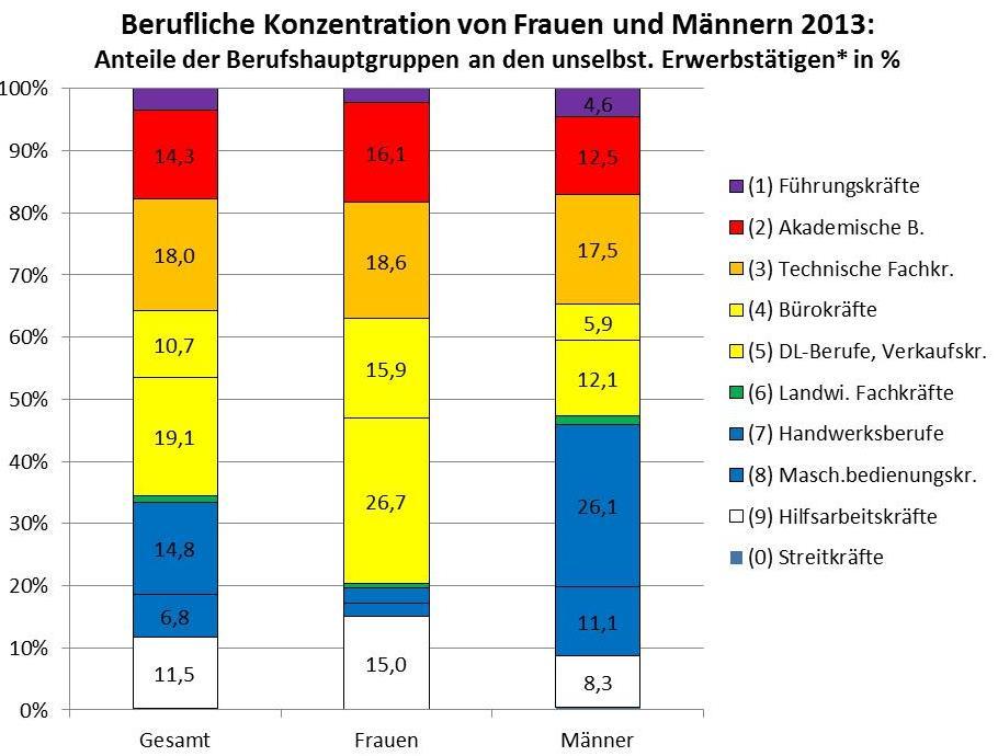 geschlechtsbezogene berufliche Segregation Österreich 2013
