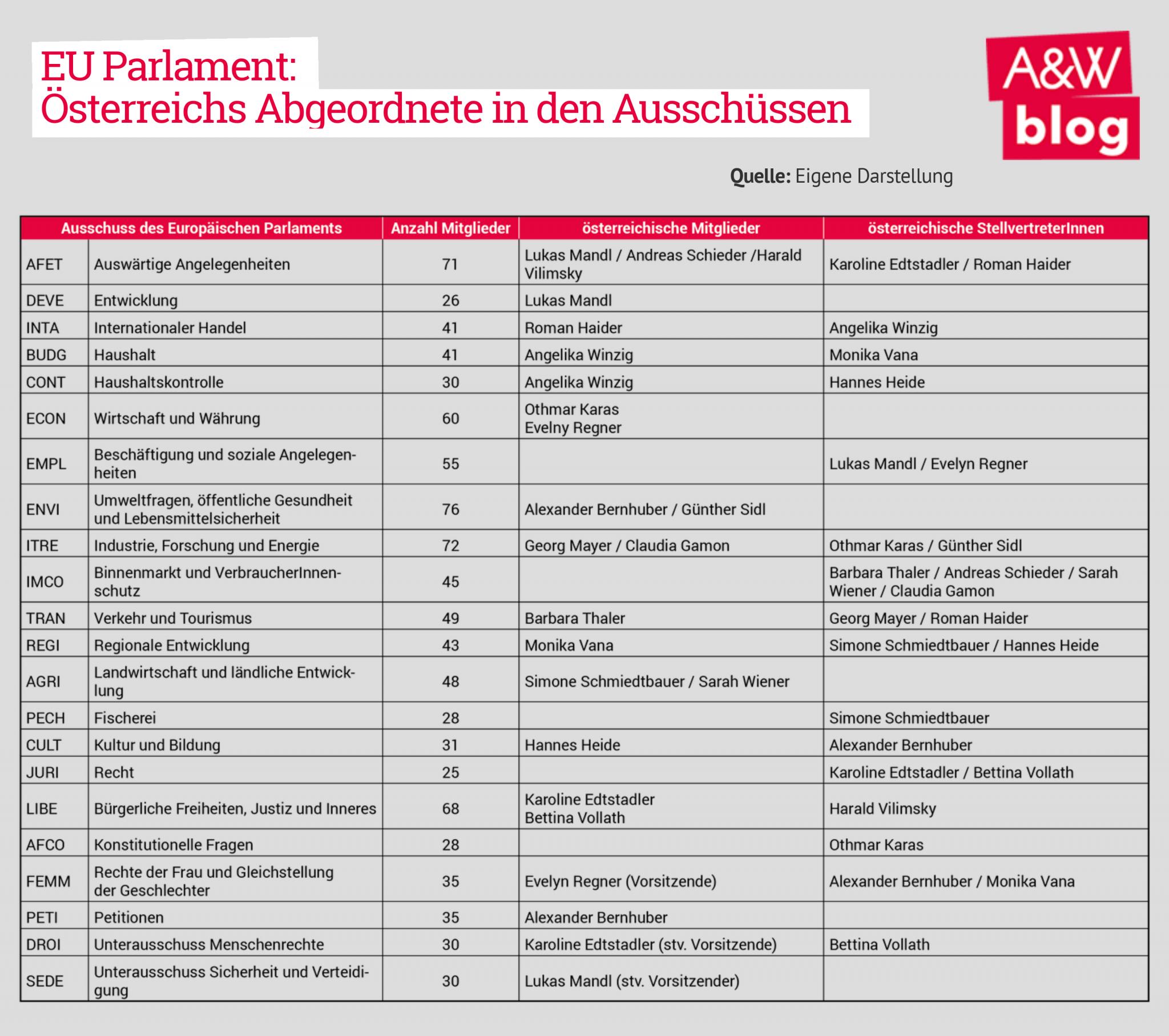 EU Parlament: Österreichs Abgeordnete in den Ausschüssen